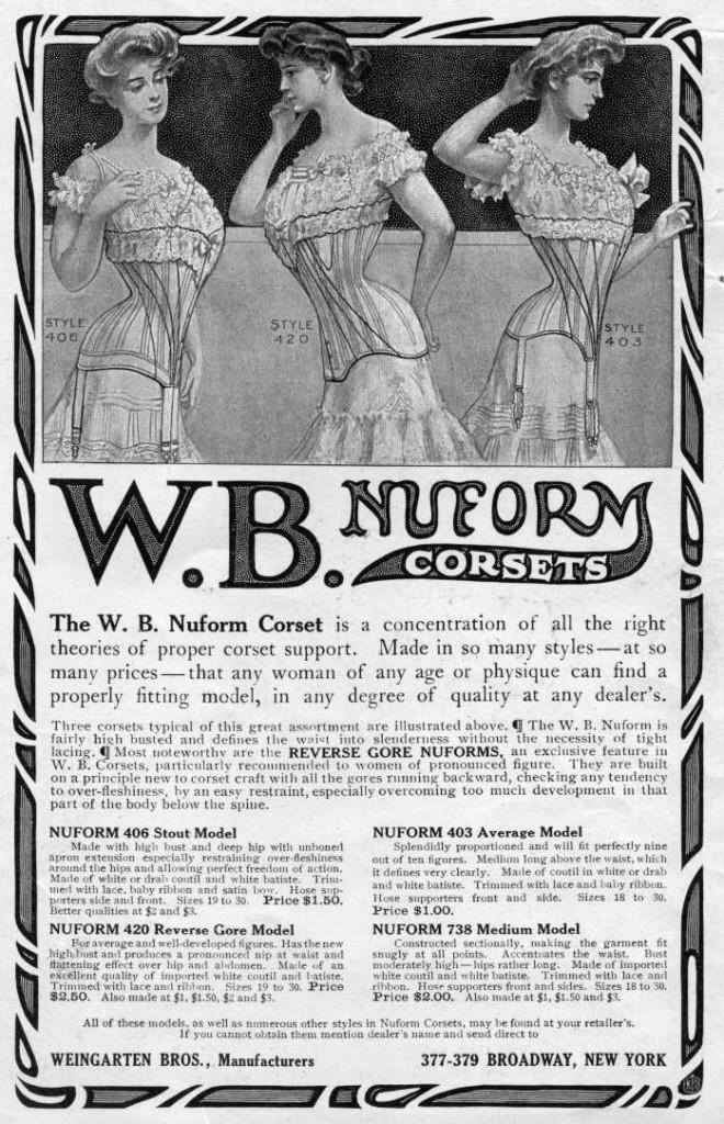 W.B. Nuform Corsets, 1906