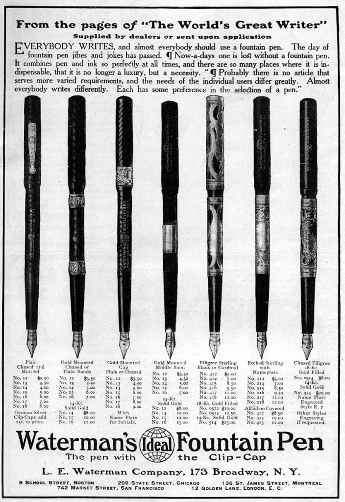 Waterman Ideal Fountain Pens, 1907