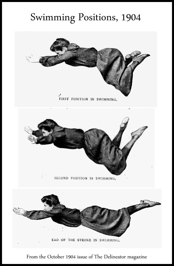 Swimming positions, 1904. On thevintagesite.com