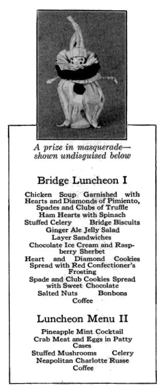 Two sample luncheons for your bridge party