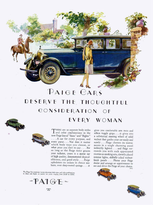 Vintage Paige Car ad from 1927
