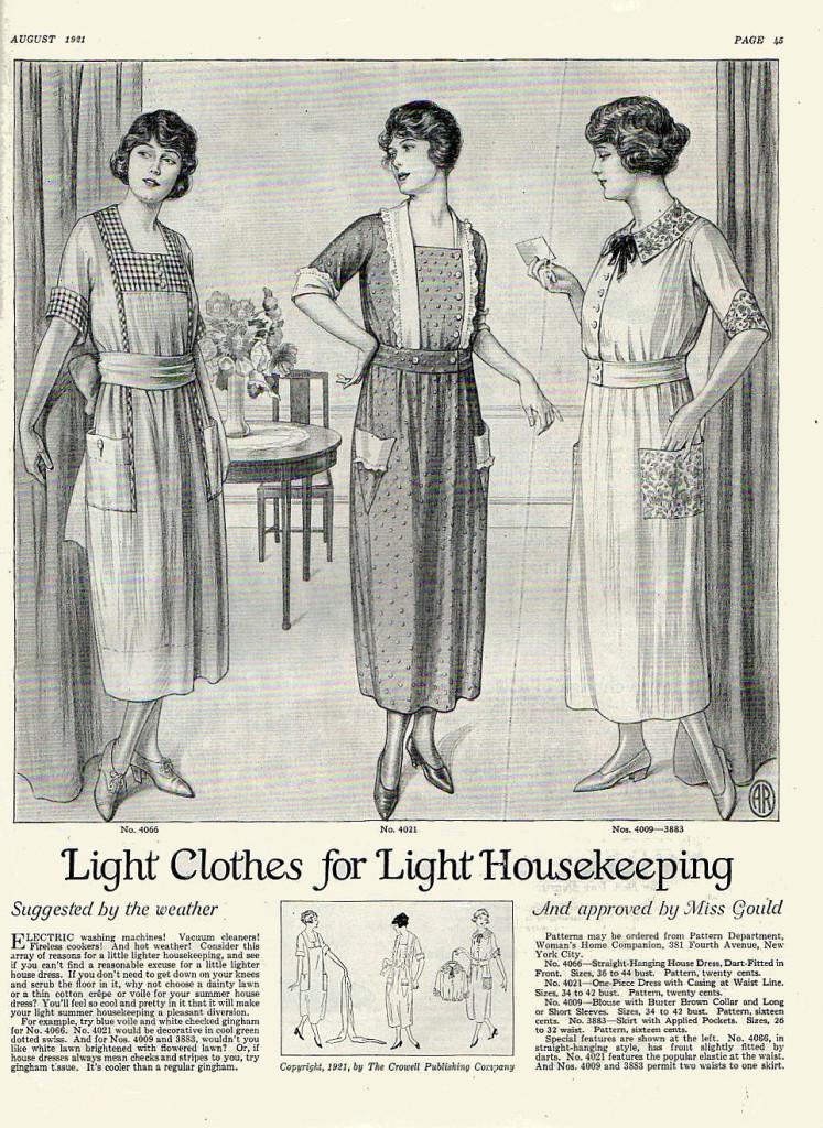Light dresses for housekeeping, 1921