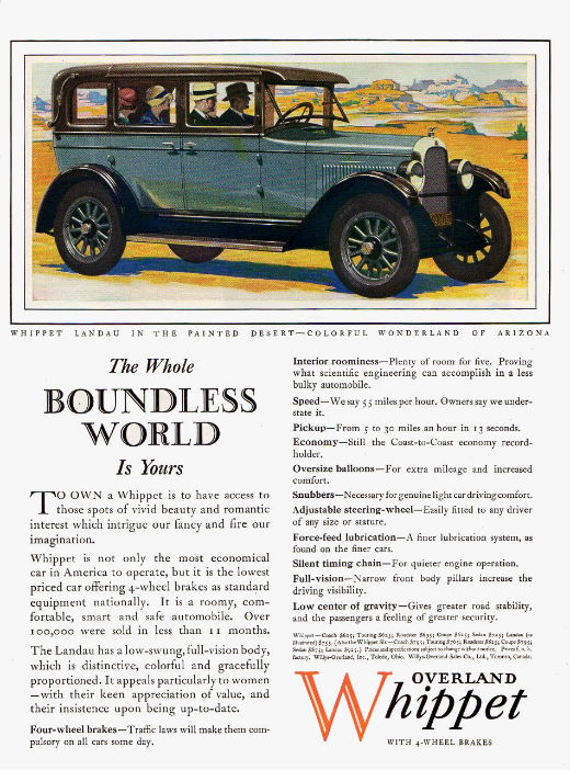 Vintage Whippet car ad from 1927