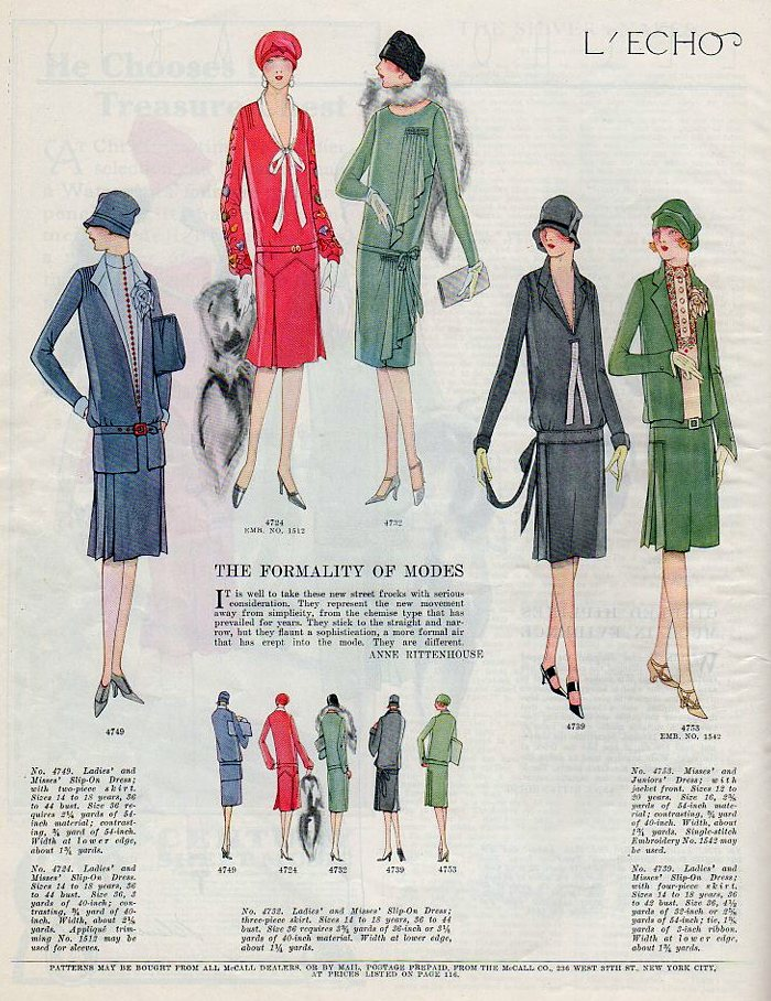 McCall's fashion illustrations from 1926