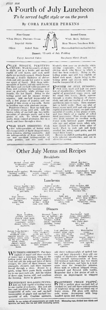 A Fourth of July Luncheon, 1916
