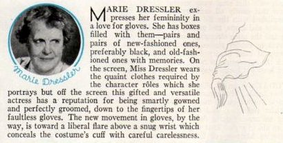 Marie Dressler and her gloves, 1933