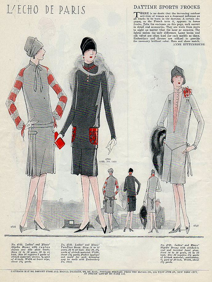 McCall's magazine 1920's fashion illustrations