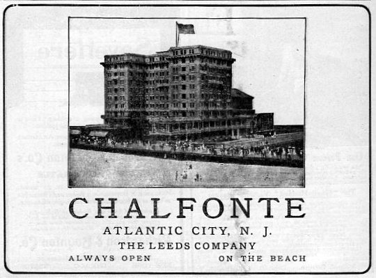 1910 vacation ad for the Chalfonte Hotel in Atlantic City