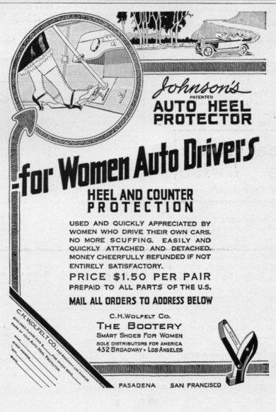 Ad for Johnson's Auto Heel Protectors, 1916