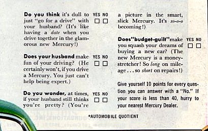 A quiz to show married women why Mercury is the car for her