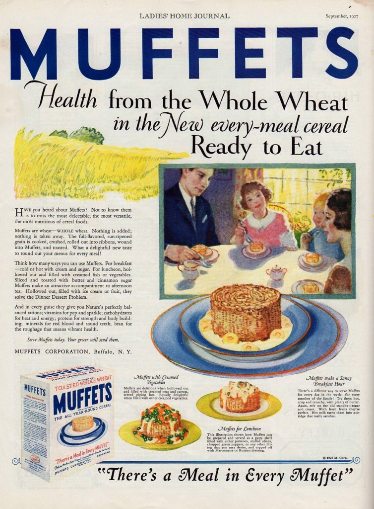 Muffets Cereal ad, from 1927