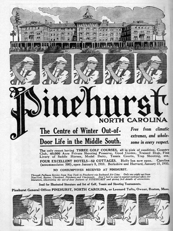 Vintage ad for Pinehurst, North Carolina