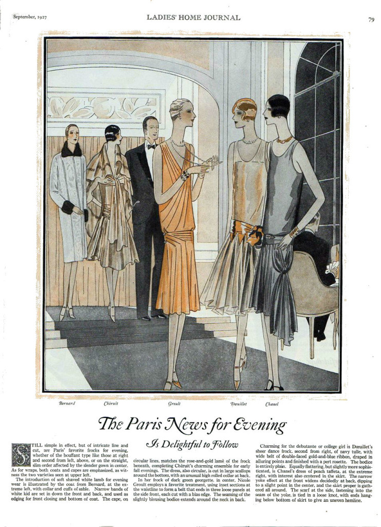 1927 vintage evening fashion from Paris