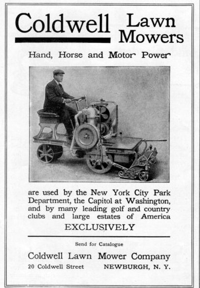 Coldwell Lawn Mowers, ad from 1909