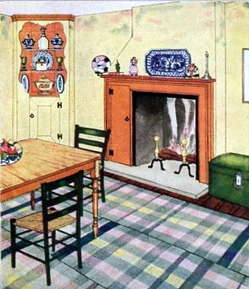 Plaid floor rug in a 1929 room