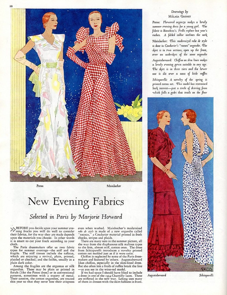 The latest fashions from 1934