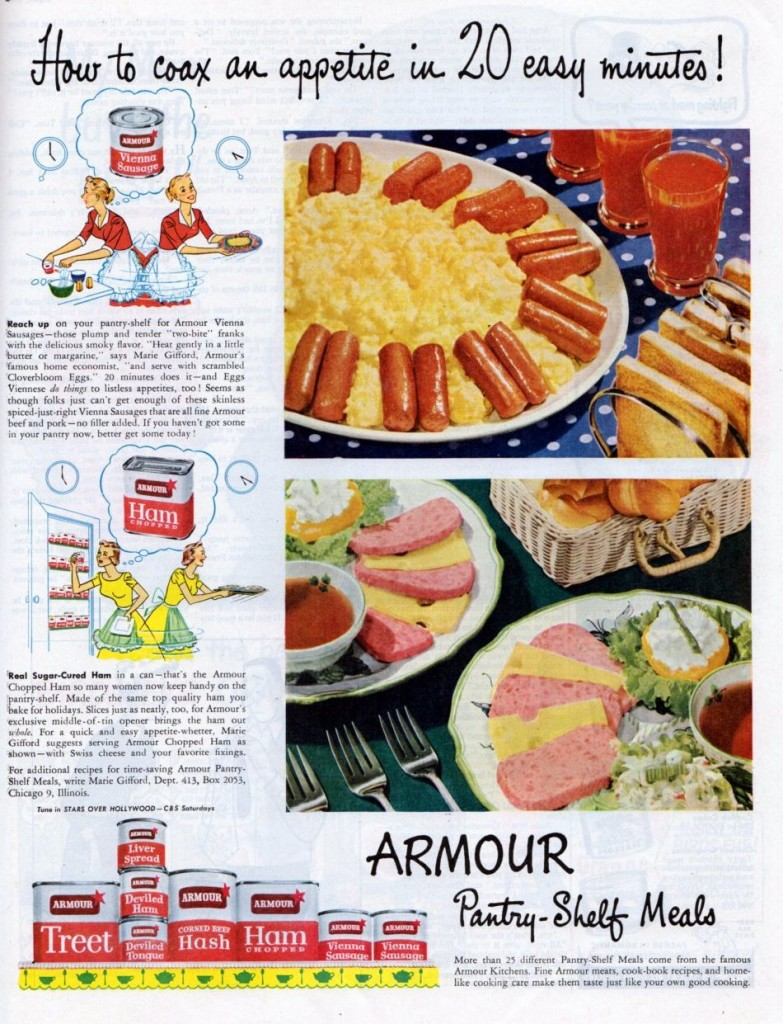 Vintage ads for Armour Meats, 1950