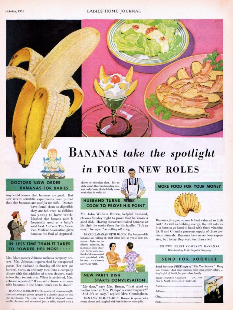 Vintage banana recipes from 1931