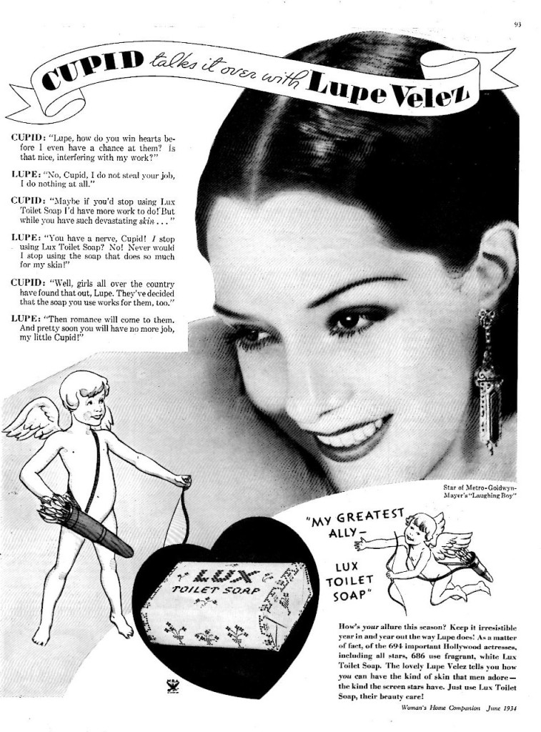 Lupe Velez in an ad for Lux Toilet Soap, 1934