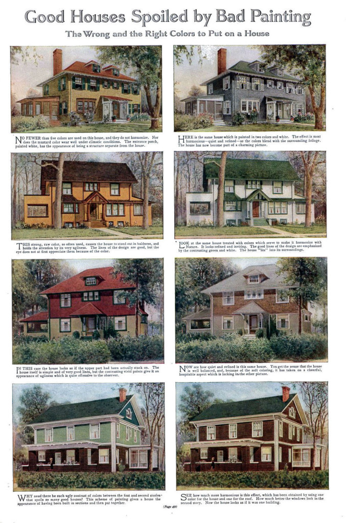 Good and Bad house paint colors, from 1912
