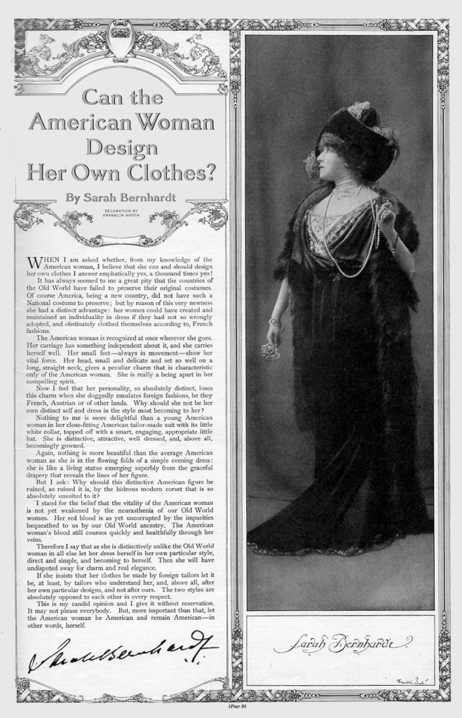 Sarah Bernhardt on the American Woman's Clothes
