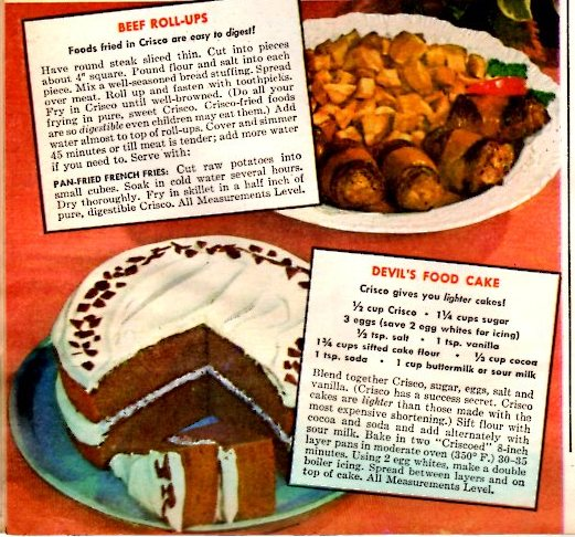 Vintage Crisco ad from 1945 with three sure ways to a man's heart