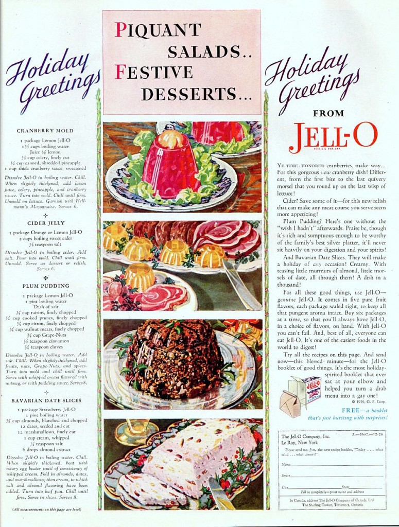 A vintage Jell-O Christmas ad from 1929 with recipes