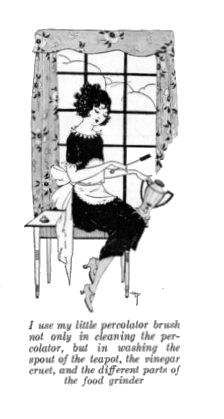 using brushes to make housework easier, 1922