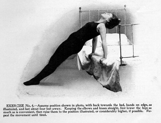 Exercises from 1905 using only your bedroom furniture.