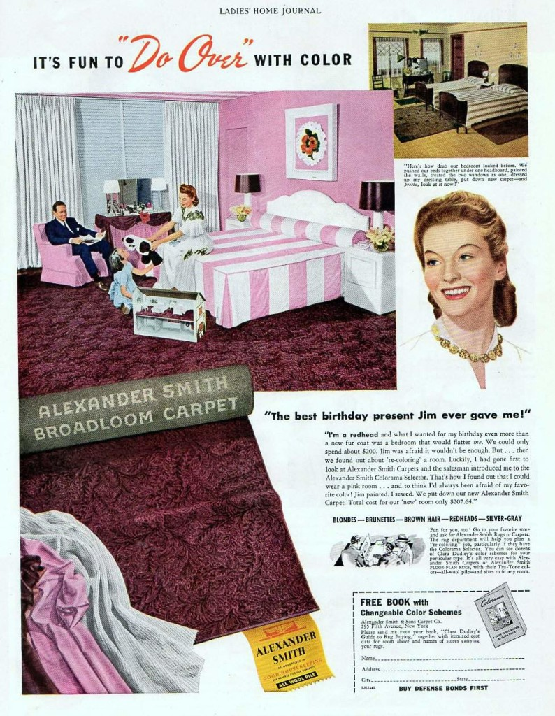 Match your hair to your room with the Alexander Smith Colorama Selector, 1942