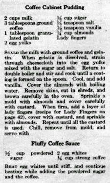 Vintage recipe for Coffee Pudding and Fluffy Coffee Dessert Sauce, 1923