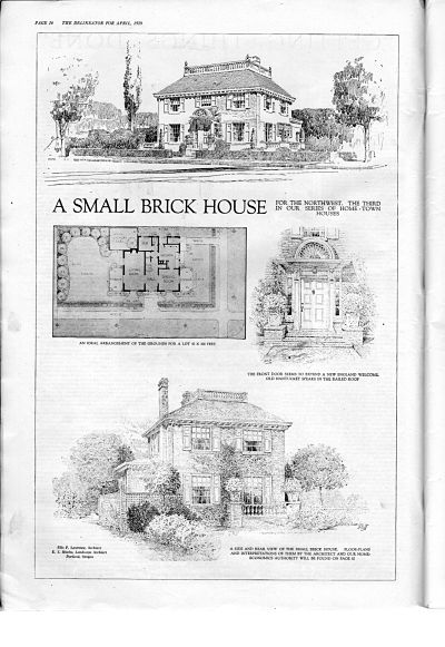 How to furnish a brick home. Tips from 1920.