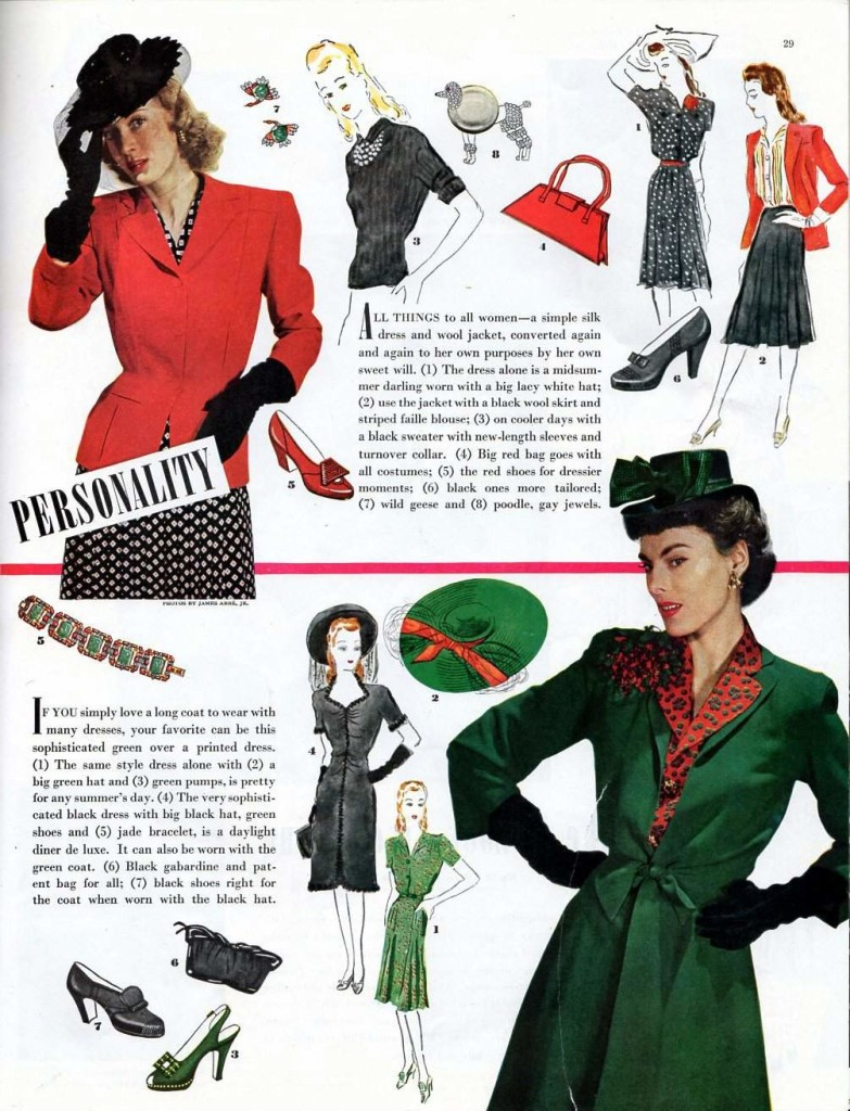 Four examples of vintage 1942 fashion found in the Ladies Home Journal magazine.