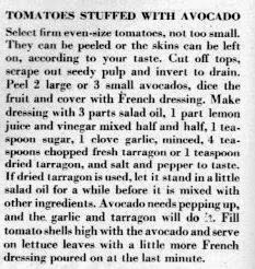 A vintage 1950 recipe for tomatoes stuffed with avocado