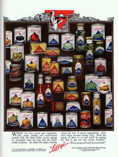 An ad from 1922 that shows a collection of canned Libby's products from the 1920's