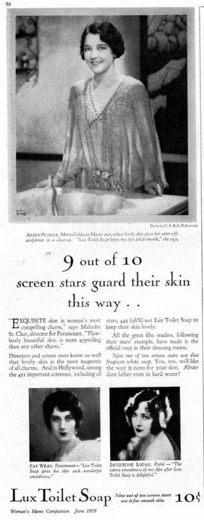 A vintage ad for Lux soap from 1929,  featuring popular movie stars of the time.